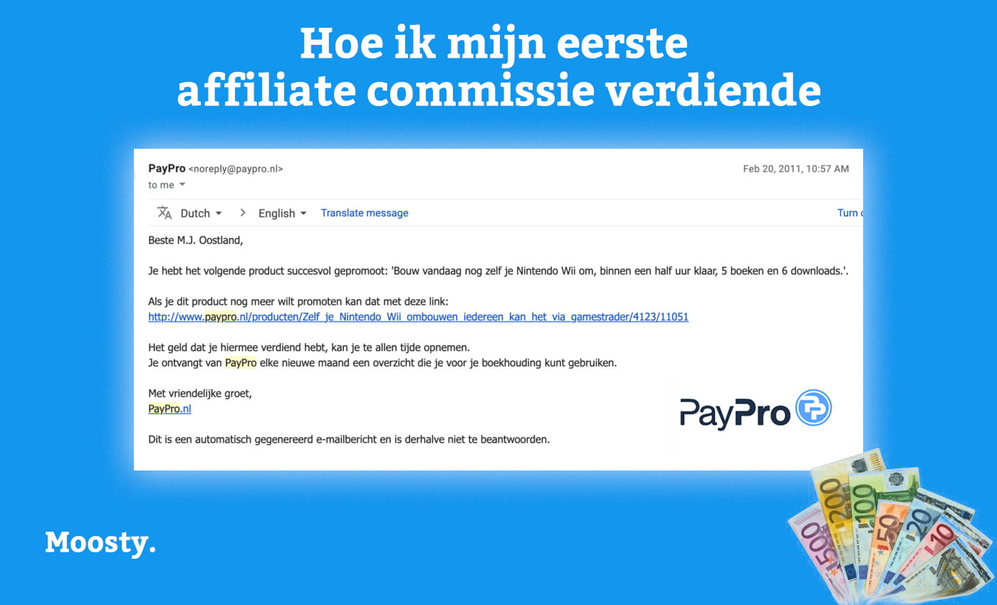 Mijn allereerste affiliate commissie bij Paypro