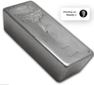 Een baar van het edelmetaal zilver van 5 kilo- Moosty.nl