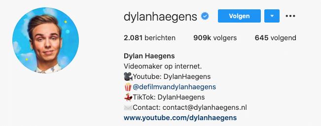 Instagram Dylan Haegens