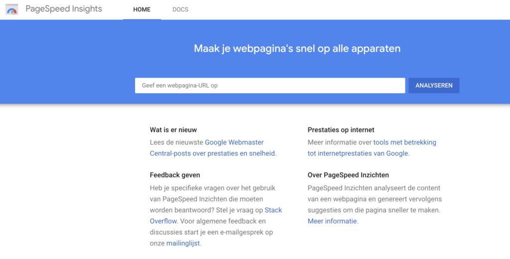 De snelheid van je website controleren met Google PageSpeed Insights.