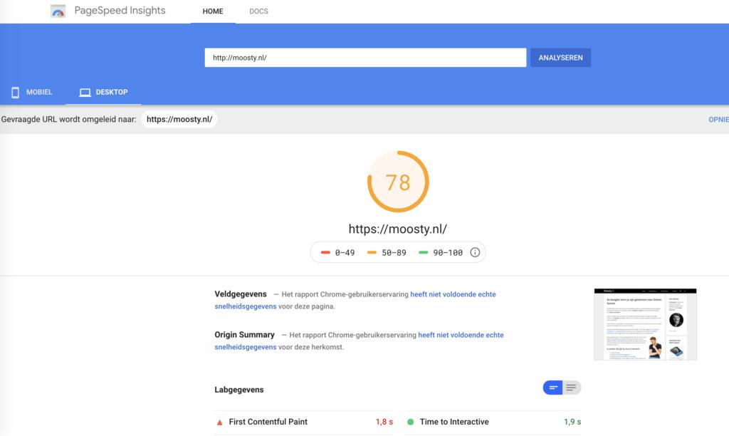 Google PageSpeed - website snelheid controleren