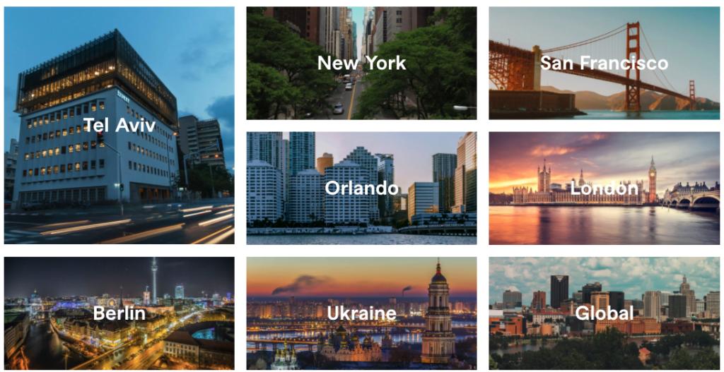 Locaties van Fiverr in de wereld