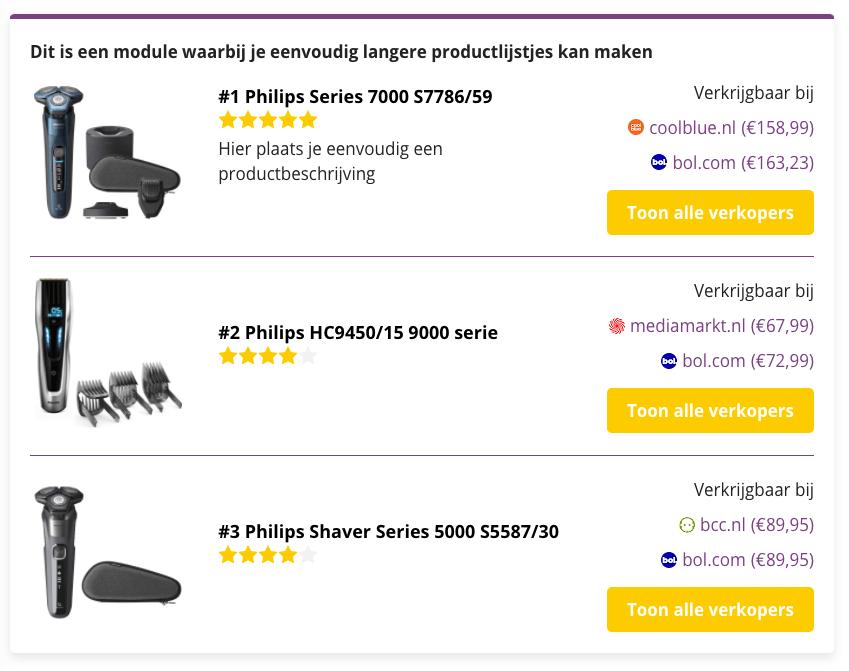 Een simpele prijsvergelijking - Affiliate Held - Wordpres plugin - Prijs en prijzen vergelijken